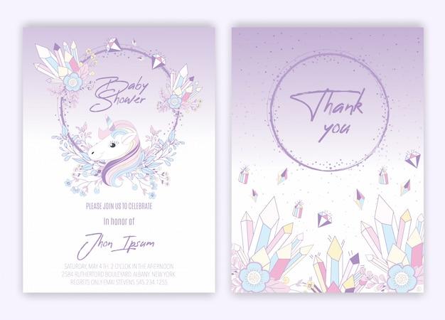 Chá de fraldas floral do cartão da decoração do unicórnio do unicórnio.