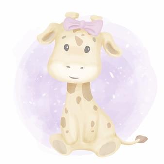 Chá de fraldas pequeno da menina do girafa