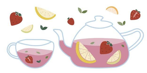 Chá de frutas com morango, limão e ervas. bebidas em bule e xícara de vidro transparente
