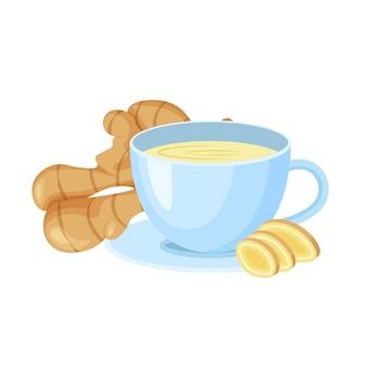 Chá de gengibre em um copo isolado no fundo branco. raiz de gengibre fresco. ícones de comida vegetariana em um estilo moderno dos desenhos animados. conceito de comida saudável para o projeto.