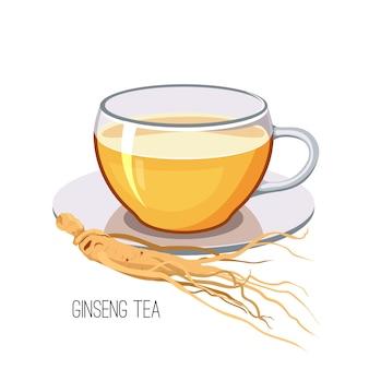 Chá de ginseng. conceito de medicina alimentar erva saudável em fundo branco. ilustração
