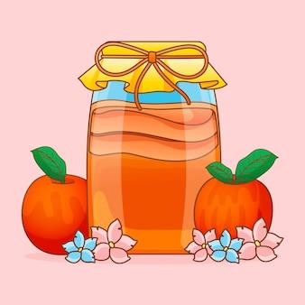 Chá de kombuchá desenhado à mão com frutas