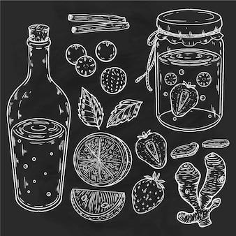 Chá de kombuchá desenhado à mão com ingredientes