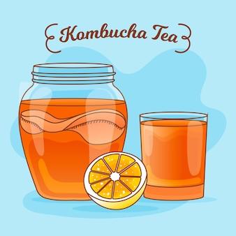Chá de kombuchá desenhado à mão com limão
