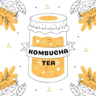 Chá de kombuchá desenhado à mão em frasco