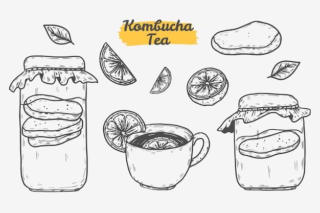 Chá de kombuchá desenhado à mão