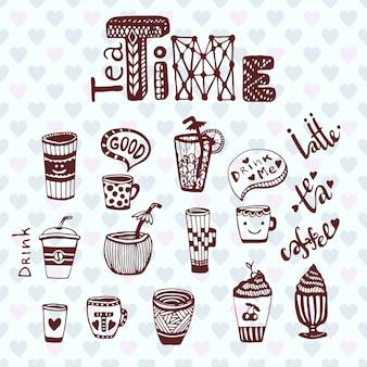 Chá e café. coleção de esboço de doodle com copos