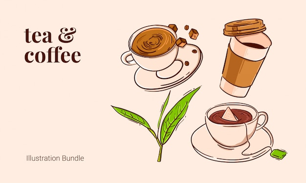 Chá e café pacote de ilustração vintage contorno açúcar mascavo folha de chá de café quente