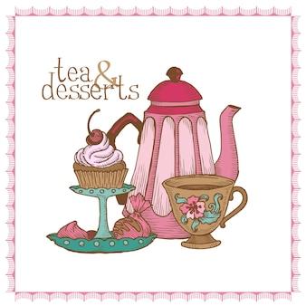 Chá e sobremesas - cartão vintage