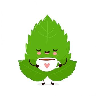 Chá feliz bonito da bebida da folha da hortelã. isolado. ilustração de personagem de desenho vetorial
