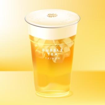 Chá gelado de taiwan, loja de chá de bebidas, verde, frutas, vermelho, preto ou chá de jasmim com tampa de leite