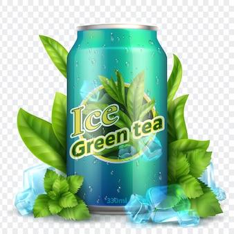 Chá gelado realista isolado. lata realista com folhas de chá e gelo. vetor de promoção do produto