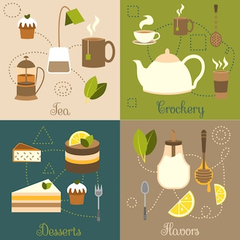 Chá louça desserts sabores conjunto plano ilustração vetorial isolado