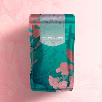 Chá masala chai com pacote de design de flores