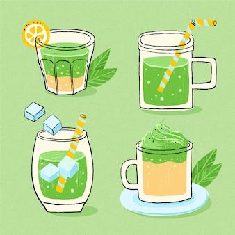 Chá matcha delicioso em vários copos