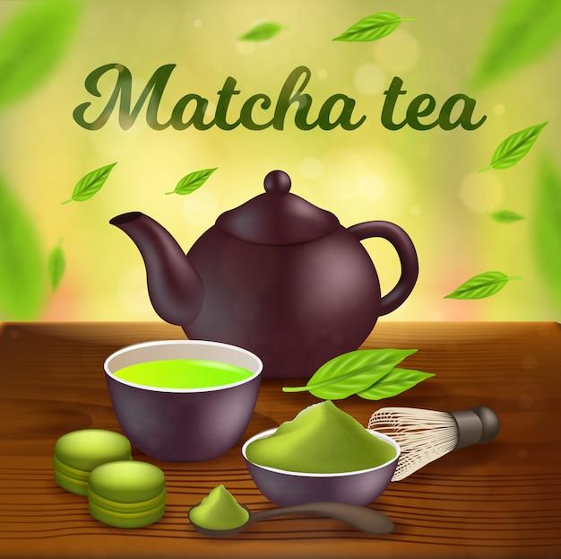 Chá matcha, panela de barro, copo com líquido verde