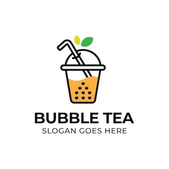 Chá moderno com bolha e logotipo de folha