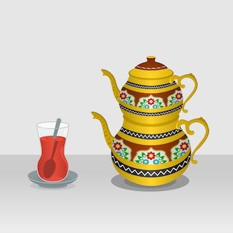 Chá turco editável