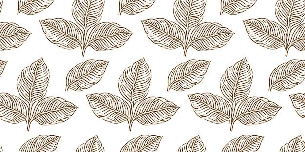 Chá um padrão de folhas