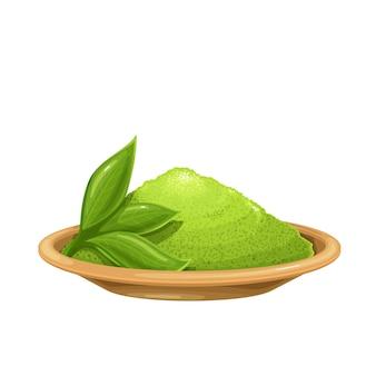 Chá verde em pó matcha em uma tigela com ilustração de chá de folhas.