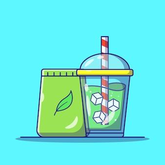 Chá verde matcha drinks com cubos de gelo em taça para viagem
