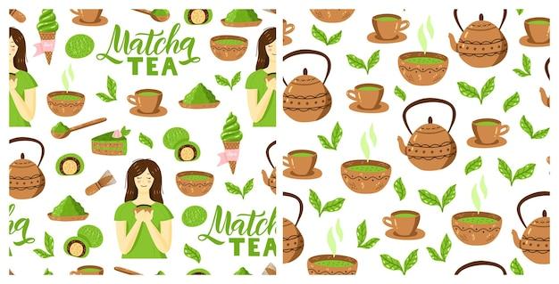 Chá verde matcha padrão de cultura japonesa sem costura com bule e cupcake de tigela de pó matcha
