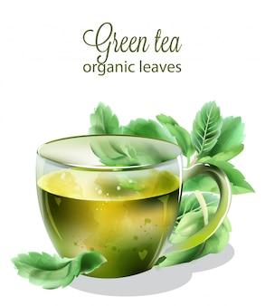 Chá verde orgânico com folhas de hortelã