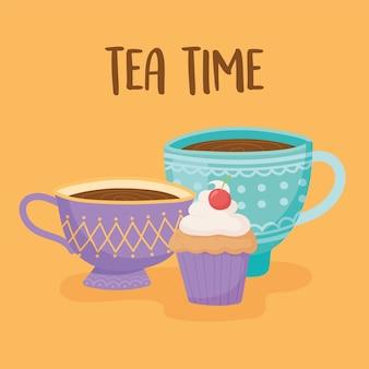 Chá, xícaras de chá com bolinho doce, ilustração amarela