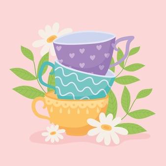 Chá, xícaras de chá diferentes com flores e folhas desenho ilustração