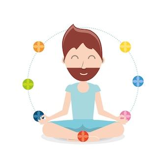 Chakras em torno de um homem dos desenhos animados praticando yoga
