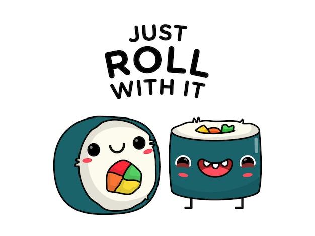 Chalaça engraçada do caráter do rolo de sushi
