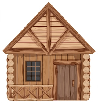 Chalé de madeira com uma porta e uma janela