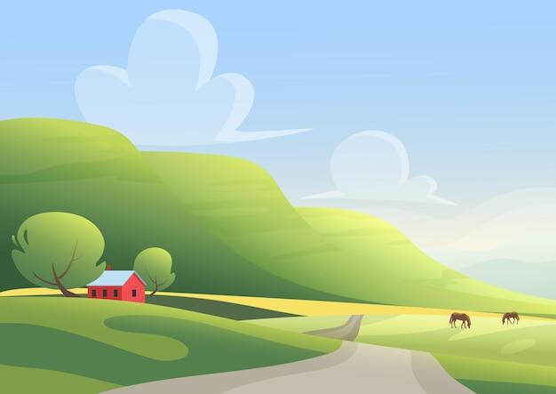 Chalé vermelho e cavalos pastando nas laterais de uma estrada rural contra uma paisagem de colinas verdes