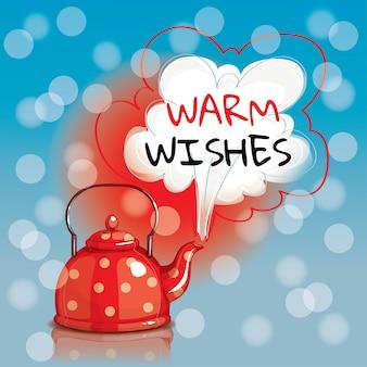 Chaleira bouiling manchada pontilhada vermelha. saudações calorosas. cartão de felicitações, postal