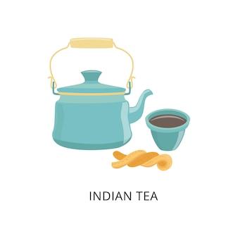 Chaleira com chá tradicional indiano, chávena de chá e pastelaria.
