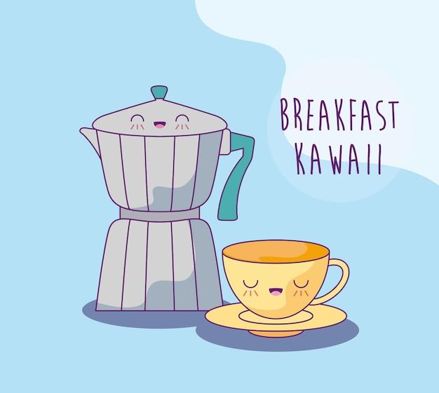 Chaleira com copo no café da manhã estilo kawaii
