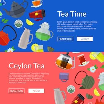 Chaleiras e copos de chá dos desenhos animados web modelos de banner