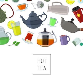 Chaleiras e copos de chá dos desenhos animados