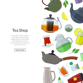 Chaleiras e copos de chá