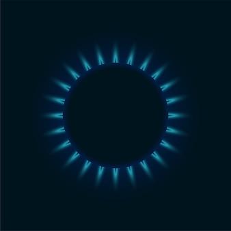 Chama azul do queimador de gás. anel de fogo brilhante na vista superior do fogão da cozinha. queima de maquete realista de propano butano natural em fundo escuro. eps