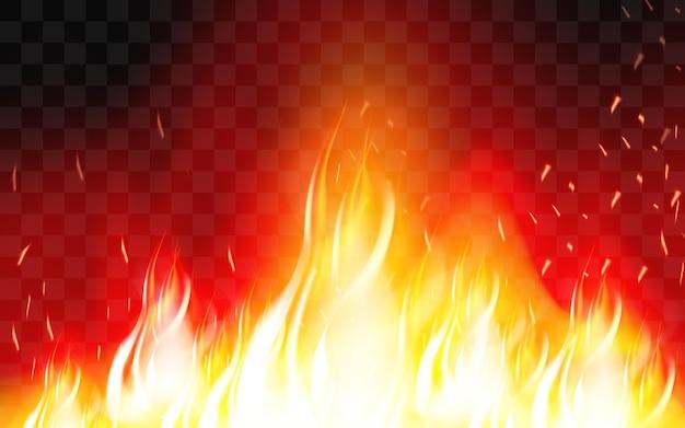 Chama de fogo ardente. queimar e quente, quente e quente, energia inflamável, ilustração vetorial flamejante Vetor Premium