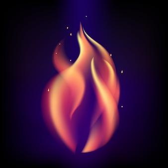 Chama de fogo ardente vermelho sobre fundo preto roxo