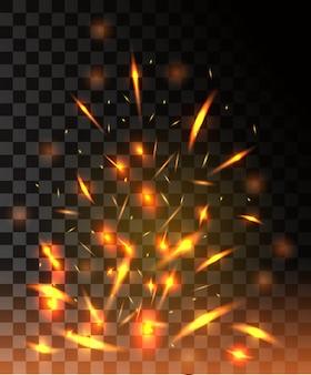 Chama de fogo com faíscas voando partículas brilhantes em fundo transparente escuro Vetor Premium