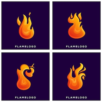 Chama de fogo conjunto logotipo premium