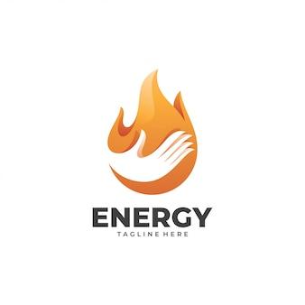 Chama de fogo de energia e logotipo de mão