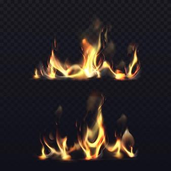Chama de fogo em fundo transparente