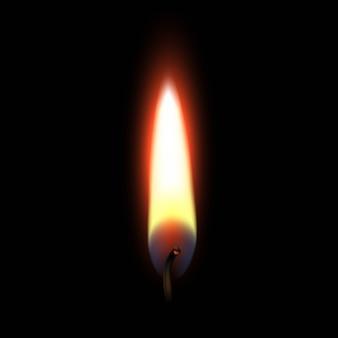 Chama de fogo isolada no preto.