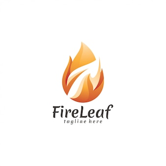 Chama de fogo moderna e energia de natureza de ícone de folha