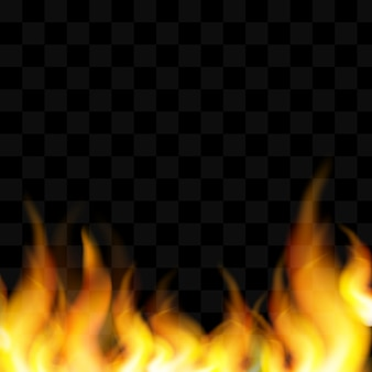 Chama de fogo realista de pequenos e grandes elementos brilhantes sobre fundo preto isolado