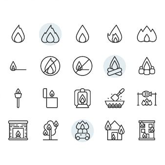 Chama de fogo relacionados ao ícone e símbolo definido no contorno